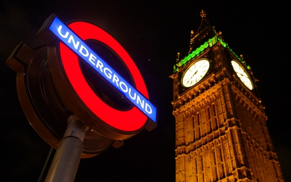 File photo dated 05/02/14 of the London underground sign against the night sky, as London Underground today launched an official map ahead of introducing its first all night Tube services in less than three monthsÕ time. PRESS ASSOCIATION Photo. Issue date: Monday June 22, 2015. The new map shows customers which Tube lines and stations will operate 24-hour services over weekends from September 12. See PA story INDUSTRY Tube. Photo credit should read: Dominic Lipinski/PA Wire